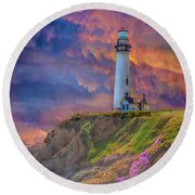 Lighthouse At Pigeon Point Round Beach Towel