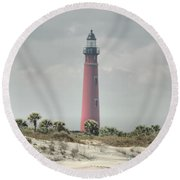 Lighthouse At Ponce Inlet Round Beach Towel