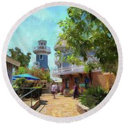 Lighthouse At Seaport Village Round Beach Towel