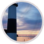 Lighthouse At Sister Bay Marina At Sunset Round Beach Towel
