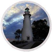 Lighthouse At Sunrise Round Beach Towel