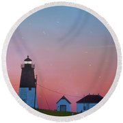 Round Beach Towel featuring the photograph  Lighthouse At Sunrise by Juli Scalzi