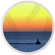 Lighthouse At Sunrise On Lake Michigan Round Beach Towel by Zawhaus Photography