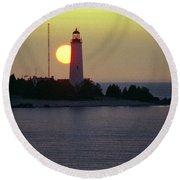 Lighthouse At Sunset Round Beach Towel
