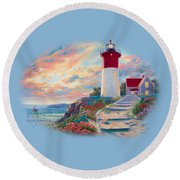 Lighthouse At Sunset Round Beach Towel