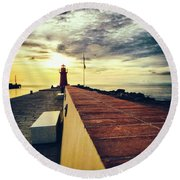 Round Beach Towel featuring the photograph Lighthouse At Sunset by Silvia Ganora