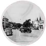 Lighthouse Avenue Downtown Pacific Grove, Calif. 1935  Round Beach Towel