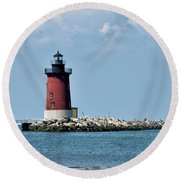 Delaware Breakwater East End Lighthouse - Lewes Delaware Round Beach Towel by Brendan Reals