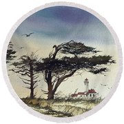 Round Beach Towel featuring the painting Lighthouse Coast by James Williamson