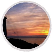 Round Beach Towel featuring the photograph Lighthouse by Fabrizio Troiani