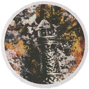 Lighthouse From Rust Harbour Round Beach Towel