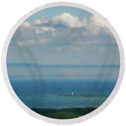 Lighthouse  From The Mountain  Round Beach Towel
