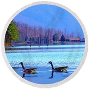 Lighthouse Geese, Smith Mountain Lake Round Beach Towel
