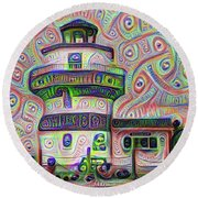 Lighthouse Ice Cream Shop - Wildwood Crest Round Beach Towel by Bill Cannon