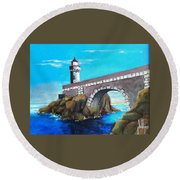 Round Beach Towel featuring the painting Lighthouse In Brest, France by Jim Phillips
