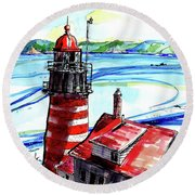 Round Beach Towel featuring the painting Lighthouse In Maine by Terry Banderas