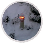 Round Beach Towel featuring the photograph Lighthouse In The Snow by Kathryn Meyer