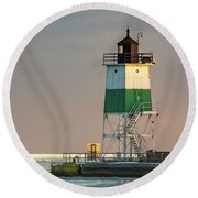 Lighthouse In The Sunset Round Beach Towel