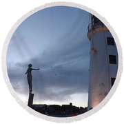 Lighthouse Lady 2 Round Beach Towel