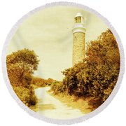 Lighthouse Lane Round Beach Towel