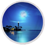 Lighthouse Moon Round Beach Towel by Mark Andrew Thomas