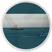 Lighthouse Of Long Island Sound Execution Rocks Round Beach Towel
