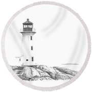 Lighthouse Of Peggy's Cove Round Beach Towel