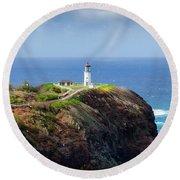 Lighthouse On A Cliff Round Beach Towel