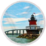 Lighthouse On A Small Island Round Beach Towel