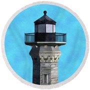 Lighthouse On Blue Round Beach Towel