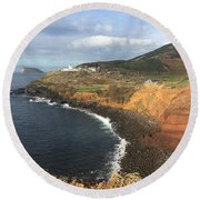 Lighthouse On The Coast Of Terceira Round Beach Towel