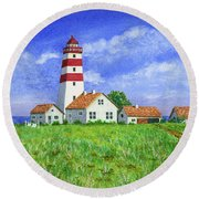 Lighthouse Pasture Round Beach Towel by Val Miller