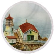 Lighthouse Point Reyes California Round Beach Towel