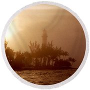 Lighthouse Point Sunrise Round Beach Towel