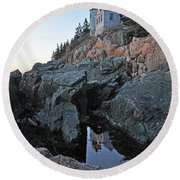 Round Beach Towel featuring the photograph Lighthouse Reflection by Glenn Gordon
