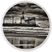 Lighthouse Reflections In Black And White Round Beach Towel
