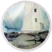 Round Beach Towel featuring the painting Lighthouse Rock by Ed Heaton