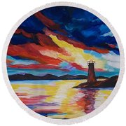 Round Beach Towel featuring the painting Lighthouse Storm by Leslie Allen