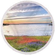 Lighthouse Sunset At Lake Buchanan Round Beach Towel by Lynn Bauer
