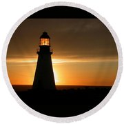 Lighthouse Sunset Round Beach Towel