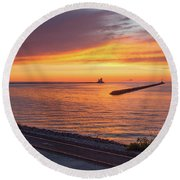 Round Beach Towel featuring the photograph Lighthouse Sunset by Rod Best