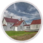 Keepers House At The Monheagn Lighthouse Round Beach Towel