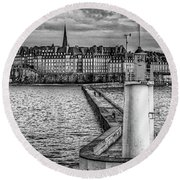 Round Beach Towel featuring the photograph Lighthouse Walkway by Elf Evans