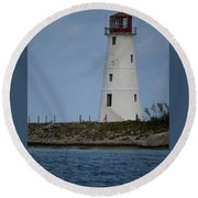 Round Beach Towel featuring the photograph Lighthouse Watch by Melissa Lane