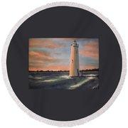 Lighthouse Waves Round Beach Towel