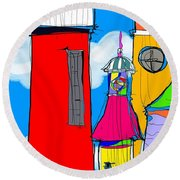 Lighthouse Carnival Round Beach Towel