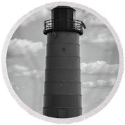 Lighthouses Of Milwaukee Round Beach Towel