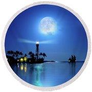 Lighting The Lighthouse Round Beach Towel