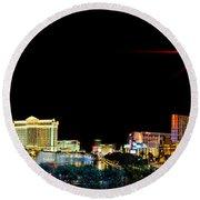 Lighting Up Vegas Round Beach Towel