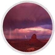 Lightning And Rainbow Round Beach Towel